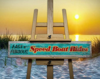 Speed Boat Rides Vintage/Rustic/Retro Handmade Wooden Sign
