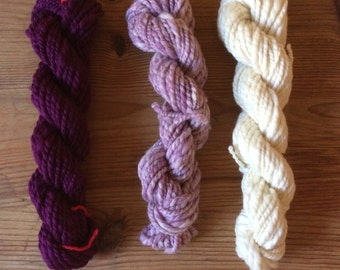 PURPLE RAIN - weaving kit - 3 handspun skeins