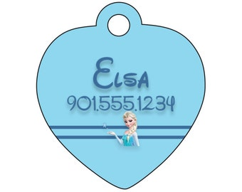 Disney Princess Elsa Frozen Dog Tag Pet ID Personalized w/ Your Pet's Name & Number