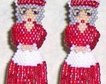 Mrs. Claus - Brick Stitch Beaded Earrings Pattern