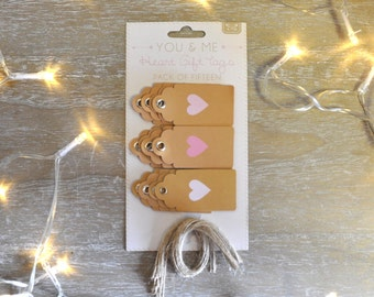 Kraft Tags with Pastel Pink Hearts - Pack of 15