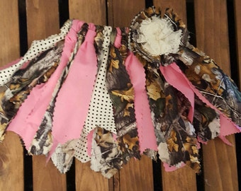 Camo Fabric Tutu, Pink and Camo Girl's Scrappy Fabric Tutu, Nature Tutu, Lace tutu, Camo Headband, Camo scrappy tutu