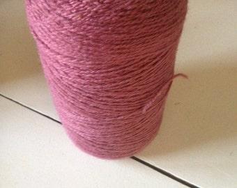 Cone of Rose Wool Weaving Yarn