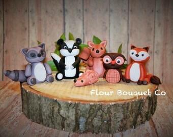 Fondant woodland animals