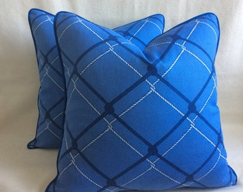 Rope Link Designer Pillow Covers - Blue - 2pc Set - 20x20 Covers