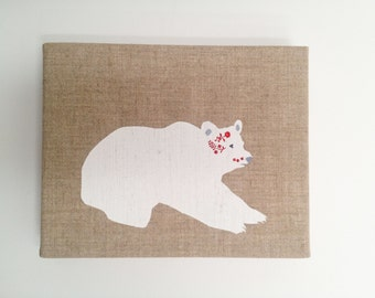Scandinavian Bear, hand pulled silkscreen print with hand painted detail, on raw linen stretched over an 8 x 10 in frame