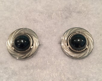 Silver-tone Cuff Links with Hematite Stone - CA 1960's - Item #28