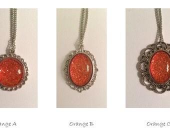 Orange Glitter Necklace