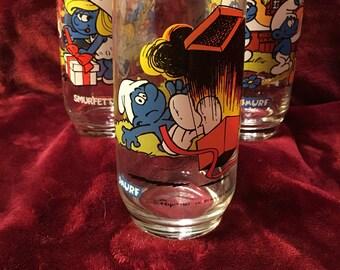 Vintage 1982-83 Smruf Drinking Glasses set of 3