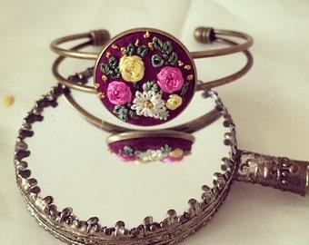 Hand Embroidered Floral Bracelet