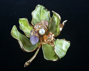 Signed Francois Enameled Leaf with pearl with semi precious stones