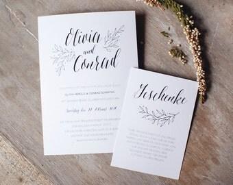 Minimalistische Hochzeitseinladung / Elegante Hochzeitseinladung / schwarzweiße Hochzeitseinladung / Menükarte / Danksagungskarte / Hochzeit