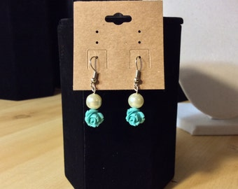 Turquoise Roses & Pearl Country Earrings