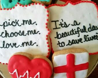 Greys Anatomy cookies! (12 cookies)