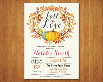 Fall in Love Bridal Shower Invitation. Autumn Wedding Shower. Fall Bridal Shower Invite. Pumpkin Floral Flowers Invite. Printable Digital.