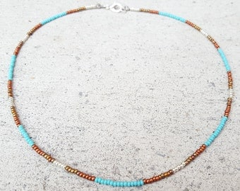 Turquoise Copper Brass Silver Seed Bead Choker,Turquoise Metal Beaded Choker,OrangeKnot,Blue Metal Choker,Turquoise brass beaded necklace