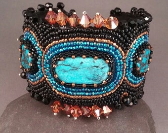 Turquoise Times Three Bead Embroidered Cuff
