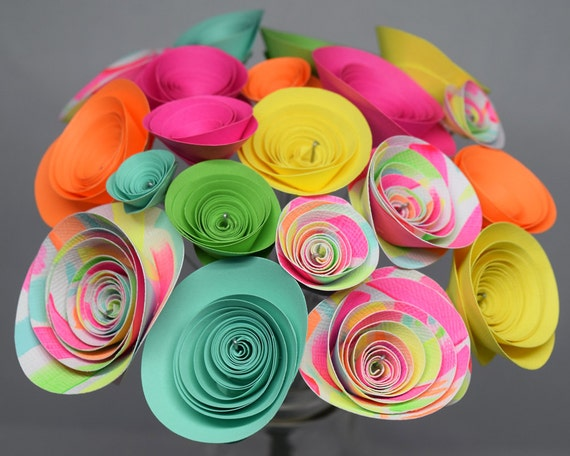 Neon Party Decorations 21 Neon Paper Flowers Neon Pink