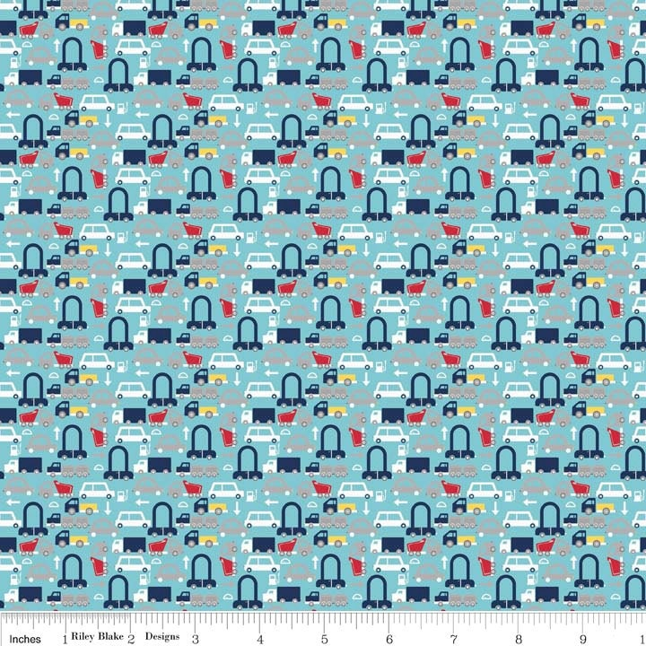 Cars aqua holiday banners by riley blake designs blue for Little blue truck fabric