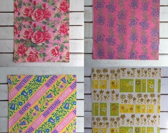 Vintage 70's 80's Wrapping Paper Lot / Gift Wrap
