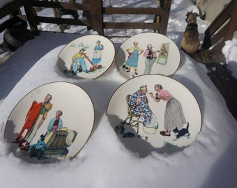 Norman Rockwell Four Seasons Series Gorham Fine China Plates 1978 Limited Edition