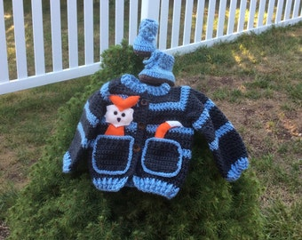 Crochet Baby boy Sweater and matching booties