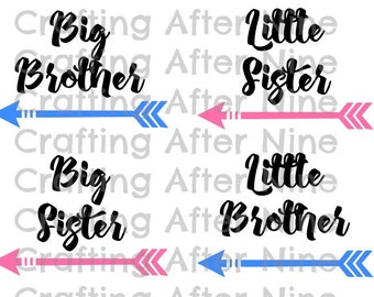 Brother Sister SVG File, Little Brother DIY Shirt, Little Sister Cutting File, Big Brother PNG Image, Big Sister Cut File, Silhouette,Cricut