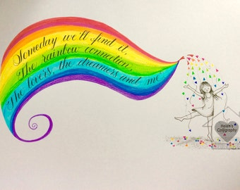 Calligraphy Art and Drawing: Rainbow Connection