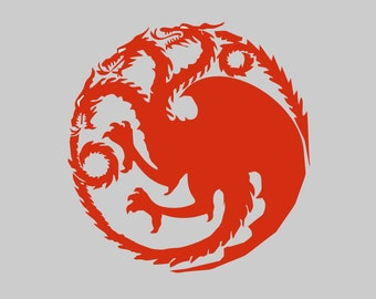 House Targaryen Inspired Vinyl Decal *Choose Size & Color* Game of Thrones Inspired Vinyl Sticker - Graphic Sigil Banner TV Show