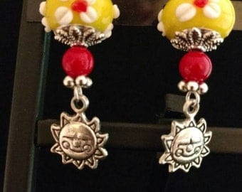 Yellow and Red Lampwork Glass Charm Earrings