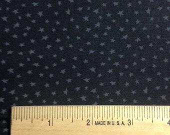 Small Gray Stars on Black Background, Muslin Mates Stars by Moda Classic, 100% Cotton