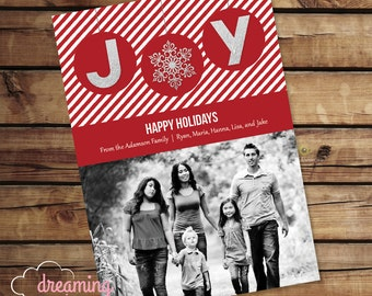 JOY Holiday Card - Red, White and Silver