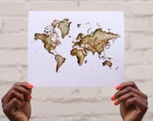 8x10 Print / World Map / Map of The World