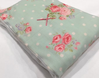 Mint green floral burp cloth, baby girl burp cloth, floral burp cloth