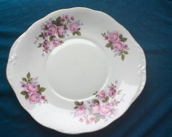 Queen Anne Mid century Cake Plate Retro Vintage Pink Roses 2 Available