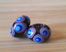 Group of two lampwork beads handcrafted Murano glass mustard yellow,violet,blue with concentric points