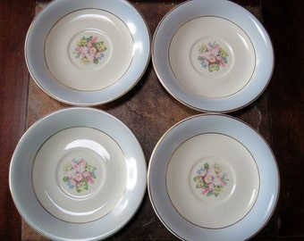 4 Royal China Saucers Blue Orchid - Item #1085