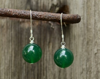 Green agate earrings, Agate earrings, Green agate earrings silver, Silver earrings agate, Agate drop earrings, Earrings green agate.