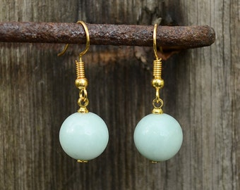 Amazonite earrings, Gold plated amazonite earrings, Amazonite gold plated earrings, Gold earrings amazonite, Amazonite drop earrings.