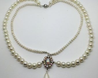 Necklace of wedding or evening two-row ivory beads