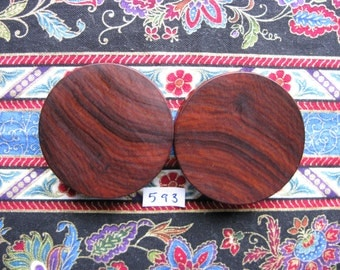 44mm Handmade Wooden Santos Rosewood Ear Plugs Pair - Easy Care ( Overall size 45.4mm )