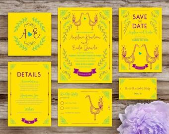 Printable Wedding Invites - Customizable Wedding Invitations - DIY Wedding Invitation Suite -  Yellow Love Birds