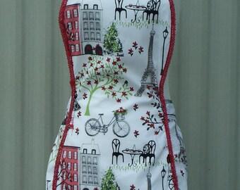 Paris apron, full apron, womens apron, vintage style apron