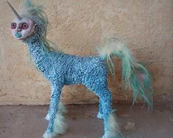 Mr Sparkle - ooak handmade unicorn fantasy sculpture