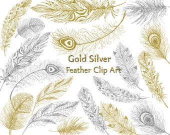"""Gold Siver Feather clipart: """"FEATHER CLIP ART"""" Glitter Feathers Printable feathers Invitation clipart Wedding invites Diy clipart hand drawn"""