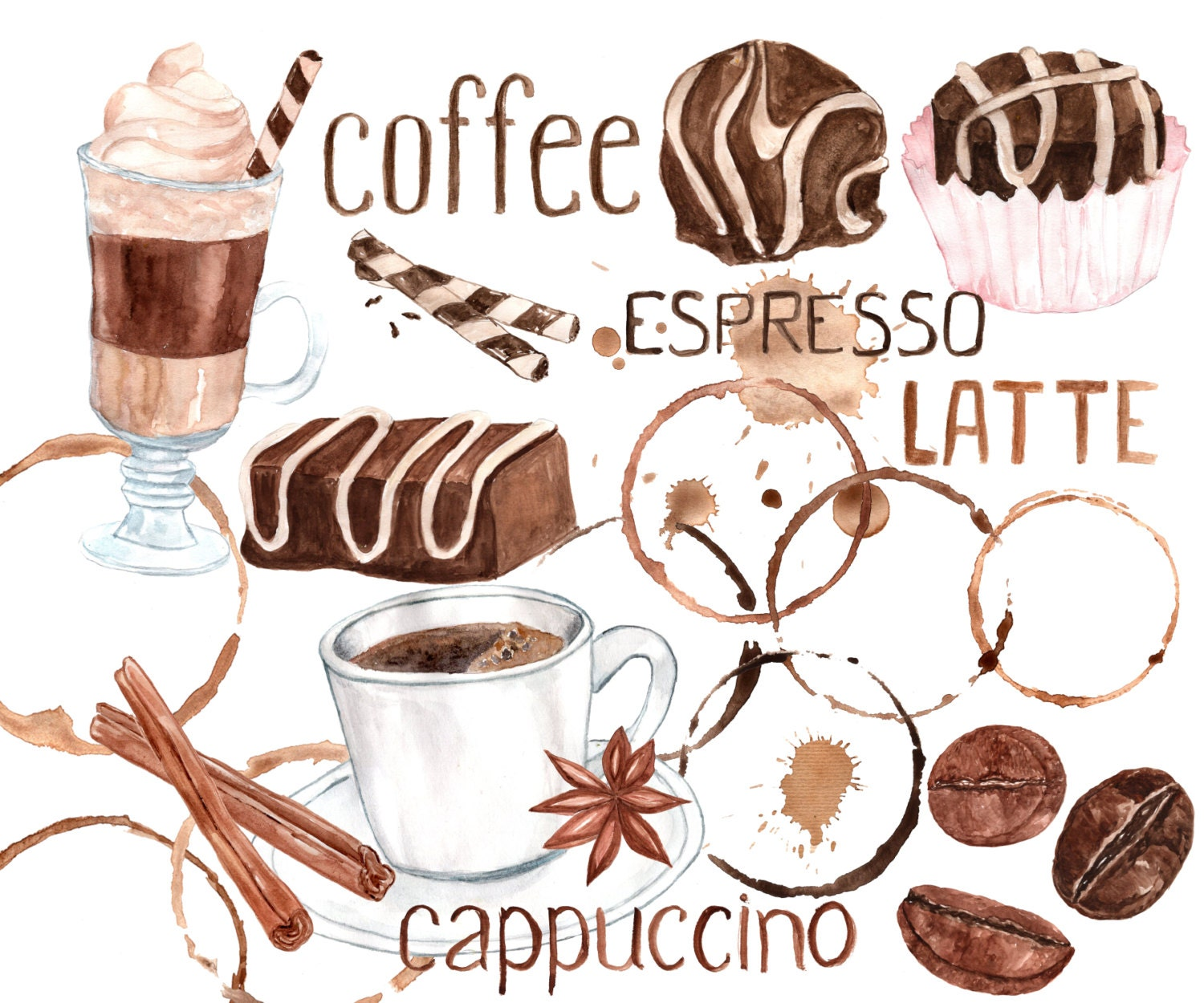 Watercolor coffee clipart sweets clipart coffee bean for Coffee watercolor