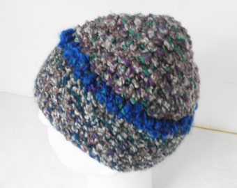Blue Circle Beanie Hand Made Crocheted Adult Hat