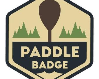 Paddle Badge Decal, Kayak Art, Canoe Decal, Adventure Stickers, Rafting, River Life