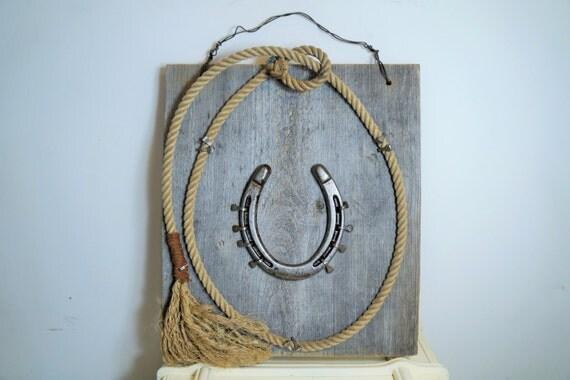 Handmade Rustic Wall Decor : Handmade rustic horseshoe wall plaque by
