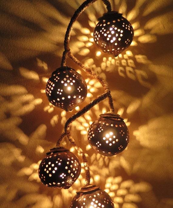 Lampe en bois à suspendre en coco coquillage lampe chambre